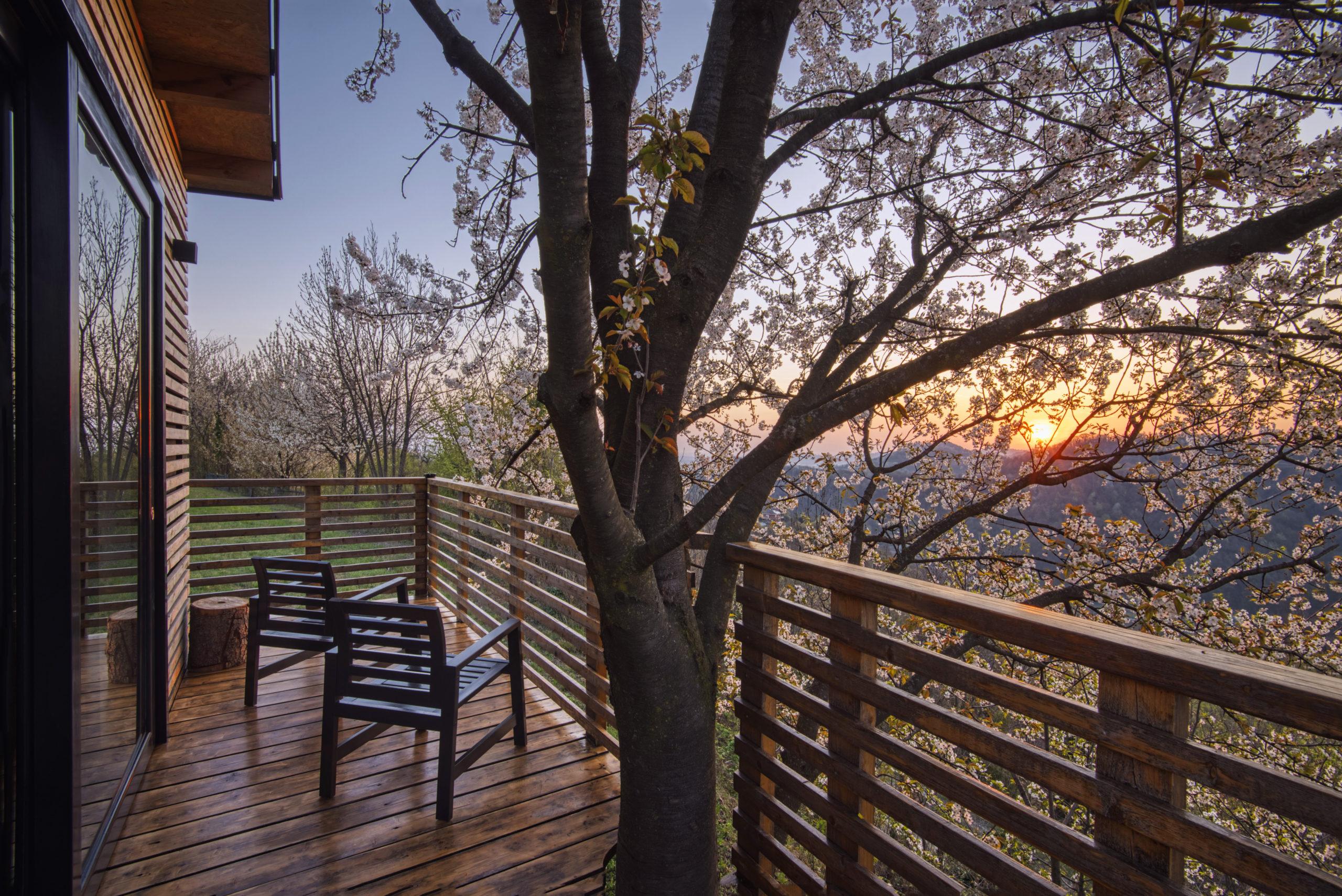 Agriturismo Parco del Grep - Monferrato, Piemonte - Tramonto dalla casa sugli alberi I Ciliegi