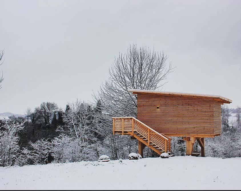 """Inverno all'Agriturismo Parco del Grep - Case sugli alberi - Monferrato, Piemonte - Paesaggio innevato e casetta """"I ciliegi"""""""